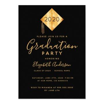 Graduation 2020 party topper black gold invitation