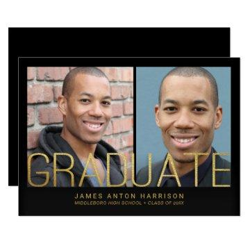 Graduation Announcement - 2 Photos with Gold Text