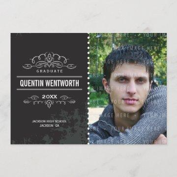 GRADUATION ANNOUNCEMENT cool grunge vintage black