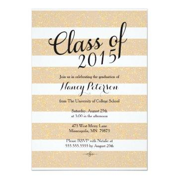 Graduation Announcement - Taupe and Gold Glitter