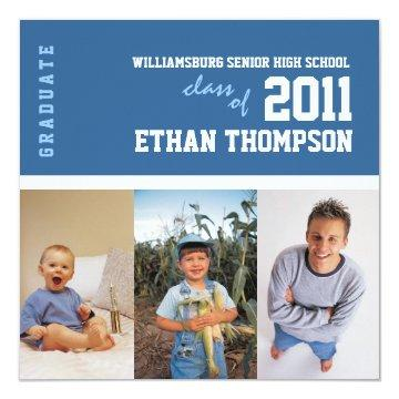 Graduation Announcement with 3 Photos in Blue