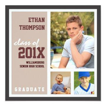 Graduation Announcement with 3 Photos Tan Brown