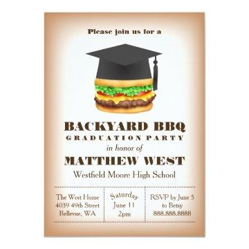 Graduation Backyard Barbecue BBQ Party Cookout Card