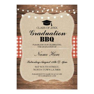 Graduation BBQ Invitation Red Rustic Wood