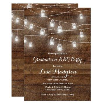 Graduation BBQ Invitation Wood Rustic card