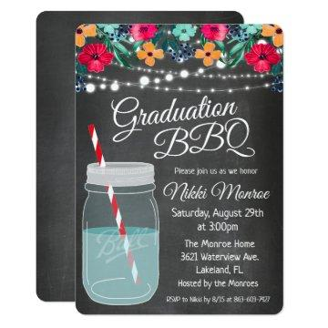 Graduation BBQ Mason Jar Invitation