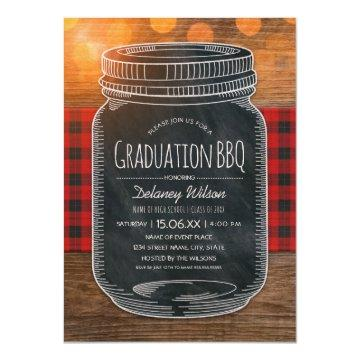 Graduation BBQ Party Rustic Chalkboard Mason Jar Invitation