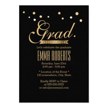 Graduation Black & Gold Confetti Dots Announcement