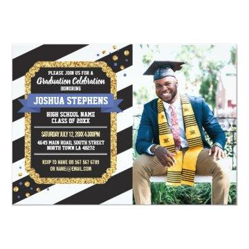 Graduation Blue Gold Photo Stripe Glitter Invite