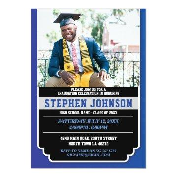 Graduation Blue Silver Party Photo Grad Invite