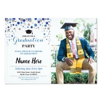 Graduation Blue Silver Party Polka Dot Photo Invitation