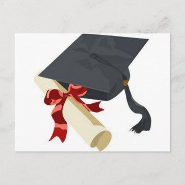 Graduation Cap & Diploma Announcement Postcard
