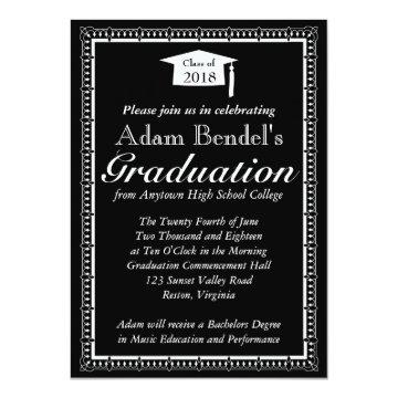 Graduation Certificate Announcement - Black