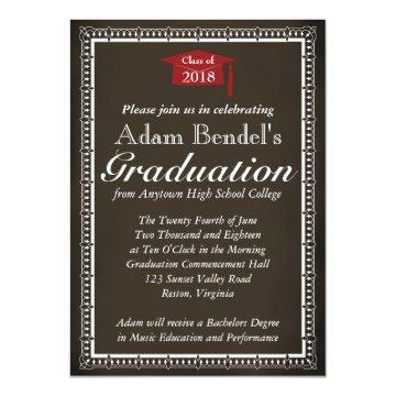 Graduation Certificate Announcement - Chalkboard