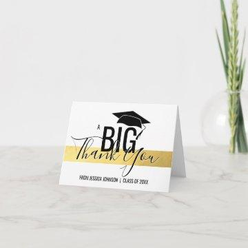GRADUATION CLASS OF - THANK YOU Gold Foil White