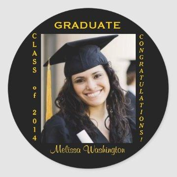 Graduation Custom Photo Gold Round Classic Round Sticker