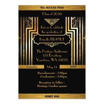 Graduation, Gatsby style, ticket, black gold