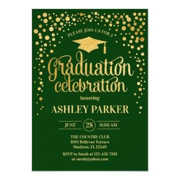 Graduation - Gold Green Invitation