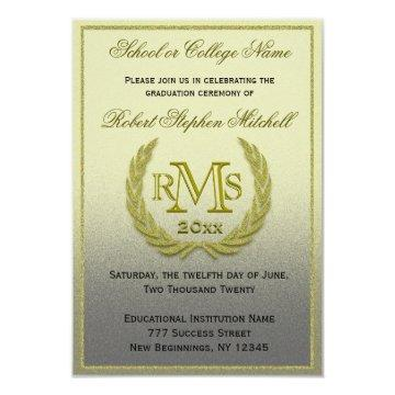 Graduation Gold Laurel Leaf Invitation