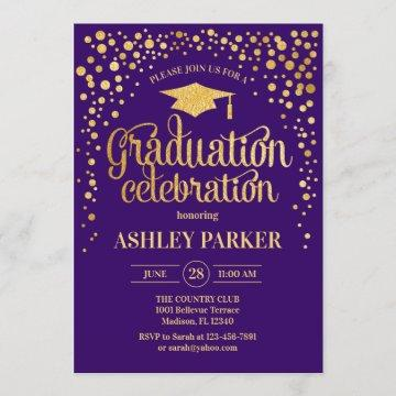 Graduation - Gold Purple Invitation