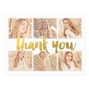 Graduation Gold Thank You Photo Frame Postcard
