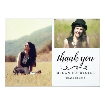 Graduation Handwritten Thank You Two Photos