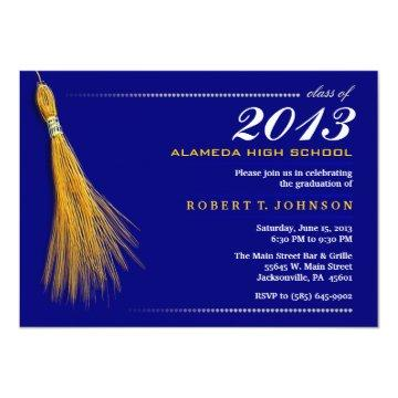 Graduation Invitation - Navy Blue & Gold Invite