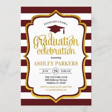 Graduation - Maroon Gold White Invitation