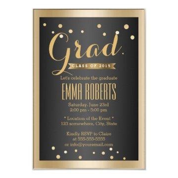 Graduation Modern Gold Border Confetti Dots Card