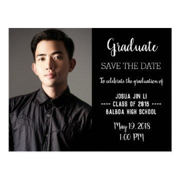 Graduation Modern Photo Save The Date Postcard