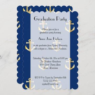 Graduation - Nautical Anchors - Blue Gold Invitation