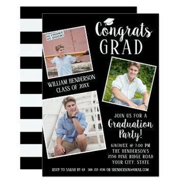 Graduation Party 3 Photos Editable Color Stripes