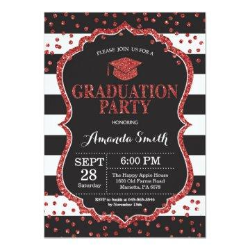 Graduation Party Black and Red Glitter Invitation