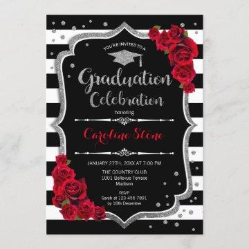 Graduation Party - Black White Stripes and Silver Invitation