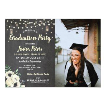 Graduation Party Chalk Jars Rustic Fireflies Photo Invitation