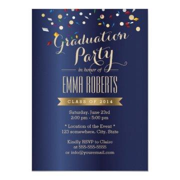 Graduation Party Elegant Navy Blue Confetti Card