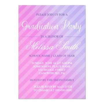Graduation Party Elegant Pastel Pink Lilac Striped Invitation