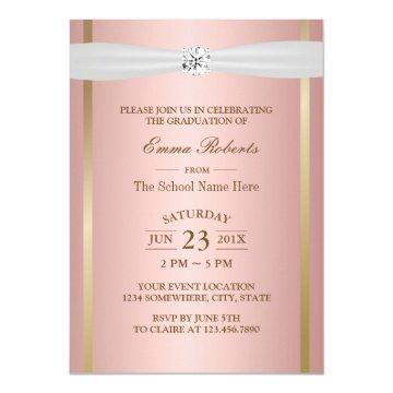 Graduation Party Elegant Rose Gold Ivory Ribbon Invitation