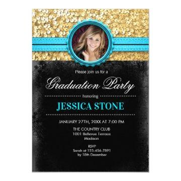 Graduation Party - Gold Black Turquoise - Photo Invitation