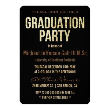 Graduation Party | Gold Glitter Cap Typographic