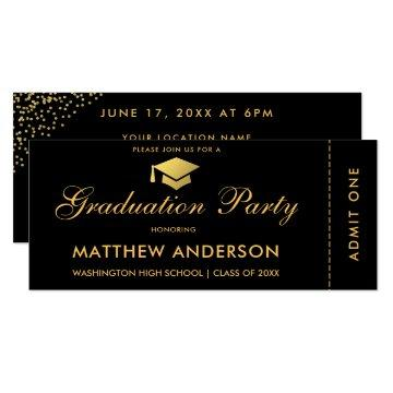Graduation Party Gold Ticket Glitter