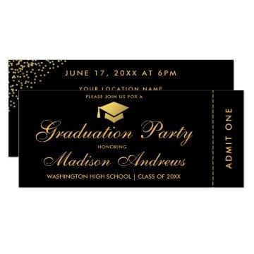 Graduation Party Gold Ticket Glitter Invitation S