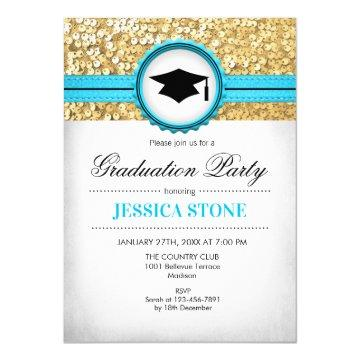 Graduation Party - Gold Turquoise White Invitation