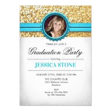 Graduation Party - Gold White Turquoise - Photo Invitation