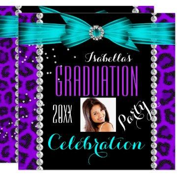Graduation Party Grad Purple Teal Blue Leopard Invitation