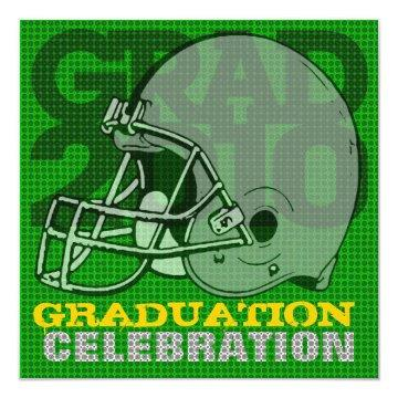 Graduation Party Invitation Football 3 Green