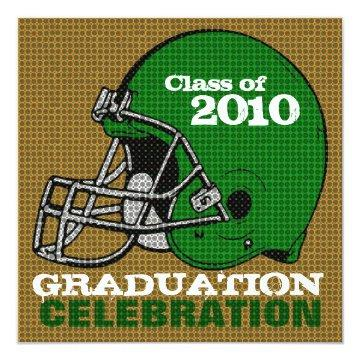 Graduation Party Invitations Football 4 Green