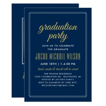 Graduation Party Invitation | Navy Blue and Gold