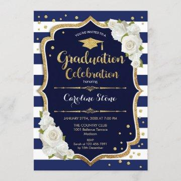 Graduation Party Invitation - Navy Gold White