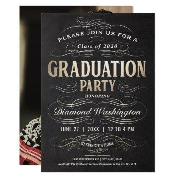 Graduation Party  Scrollwork Gold Foil